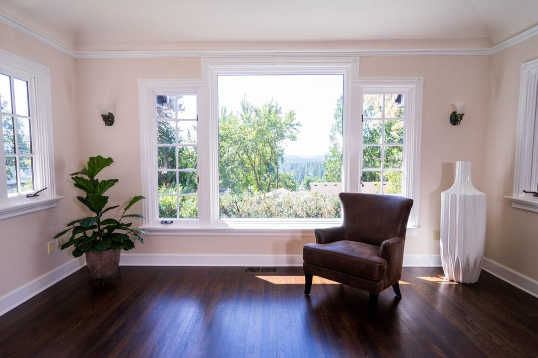Interior residential painting with big window