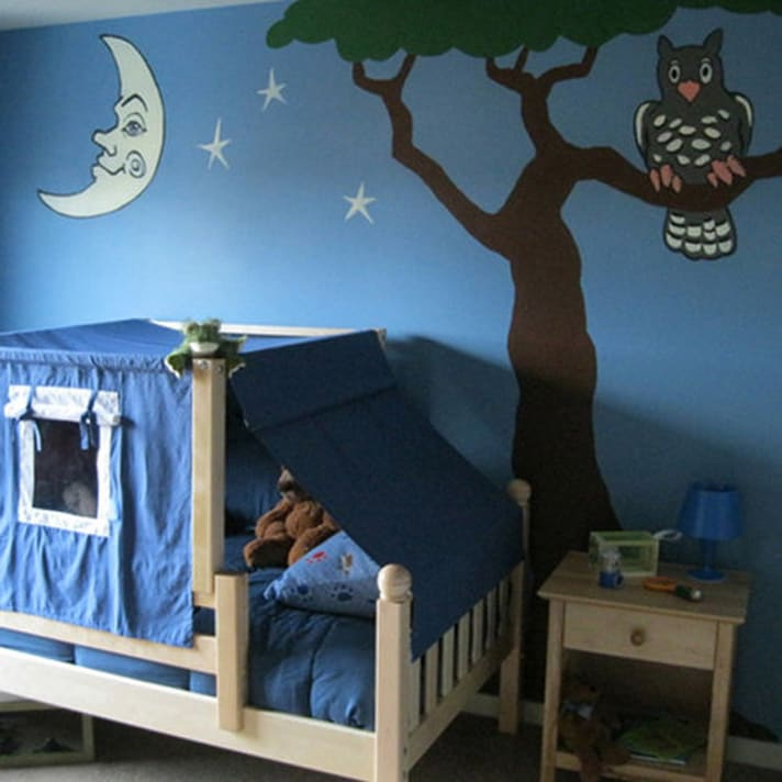 interior painting children's room mural